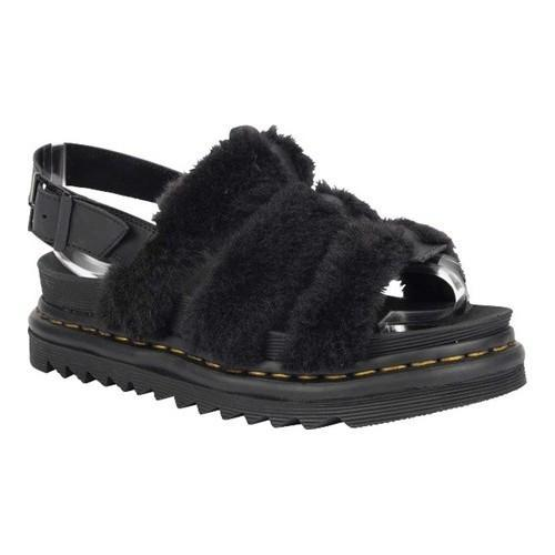 95760e8c7430 Shop Women s Dr. Martens Yelena Fluffy Strappy Sandal Black Hydro Leather Toby  Fur - Free Shipping Today - Overstock - 19626572