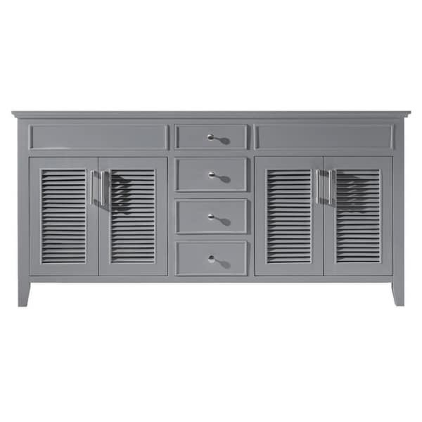 "Exclusive Heritage 72"" Double Sink Bathroom Vanity Base in Taupe Grey"