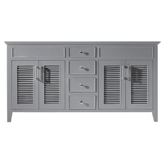 "Exclusive Heritage 60"" Double Sink Bathroom Vanity Base in Taupe Grey"