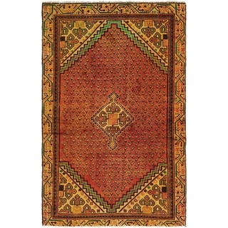 Hand Knotted Botemir Semi Antique Wool Area Rug - 4' x 6' 8