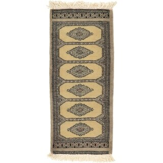Hand Knotted Bokhara Wool Runner Rug - 1' 4 x 3'