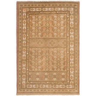 Hand Knotted Bokhara Wool Area Rug - 4' x 6'