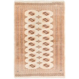 Hand Knotted Bokhara Wool Area Rug - 4' 2 x 6'