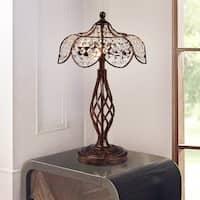 Breska Rustic Bronze Table Lamp with Crystal Lotus Shade