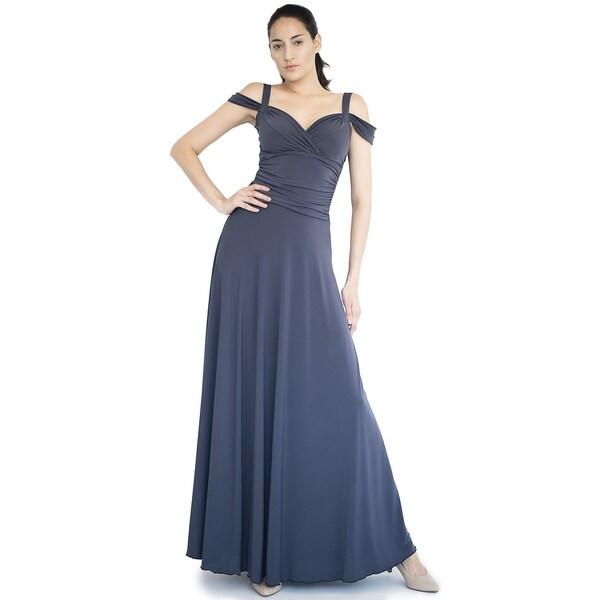 Shop Evanese Womens Elegant Slip On Long Formal Dress With Shoulder