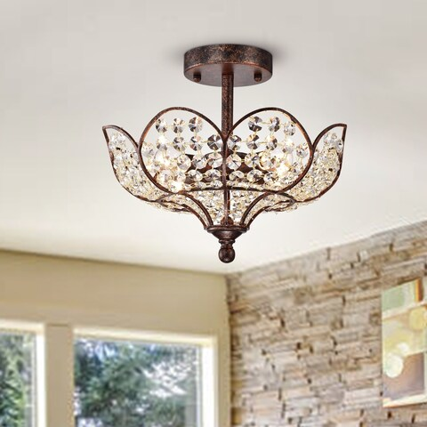 Darnue 4-light Hanging Lotus Semi-Flushmounted Ceiling Lamp in Rustic Bronze with Crystal Shade