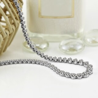 Auriya 18k White Gold 3ct TDW Round Diamond Tennis Necklace