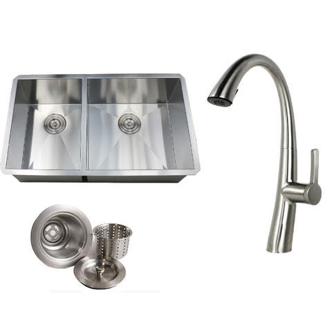 Undermount 32 in. x 19 in. x 10 in. Deep Stainless Steel 16-Gauge Double Bowl 40/60 Zero Radius Kitchen Sink AND Faucet Combo