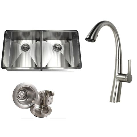 Undermount 37 in. x 20 in. x 10 in. Deep Stainless Steel 16-Gauge Double Bowl 50/50 Zero Radius Kitchen Sink AND Faucet Combo