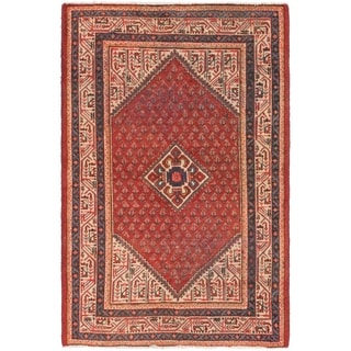 Hand Knotted Botemir Semi Antique Wool Area Rug - 4' 3 x 6' 8