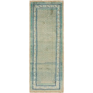 Hand Knotted Botemir Semi Antique Wool Runner Rug - 3' 9 x 10' 6