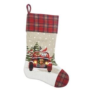 "Snowy Car by Santa Light Up Christmas Stocking 20-Inch - 11""x20"""