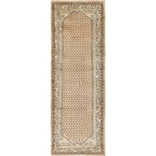 Hand Knotted Botemir Antique Wool Runner Rug - 3' 8 x 10' 4