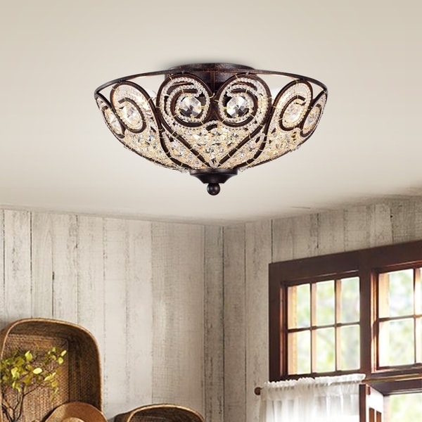 Ceslee 3 Light Rustic Bronze Flushmount Ceiling Lamp With Heart Scroll Crystal Shade