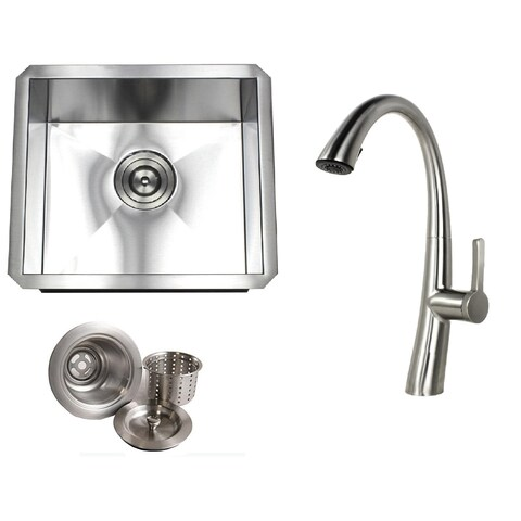 Undermount 17 in. x 15 in. x 9 in. Stainless Steel Prep/Bar/Island Single Bowl Zero Radius Kitchen Sink&Faucet Combo