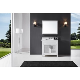 "Exclusive Heritage 36"" Single Sink Bathroom Vanity in White with Carrara White Marble Top"