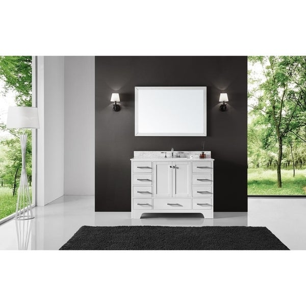 """Exclusive Heritage 48"""" Single Sink Bathroom Vanity in White with Carrara White Marble Top"""