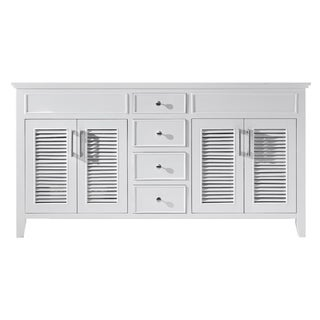 "Exclusive Heritage 60"" Double Sink Bathroom Vanity Base in White"