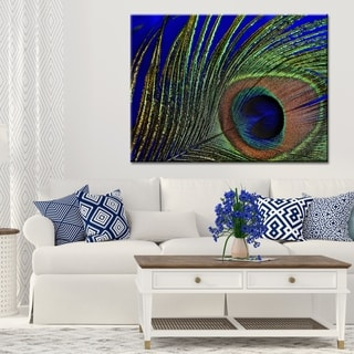 "Norman Wyatt Home ""Peacock Feather Blue""  Green/ Blue Gallery Wrapped Canvas Art"