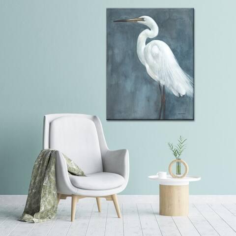 Norman Wyatt Home 'Snowy Egret' Grey/ White Bird Gallery Wrapped Canvas Art