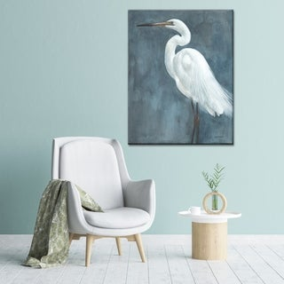 Norman Wyatt Home 'Snowy Egret' Grey/ White Bird Gallery Wrapped Canvas Art