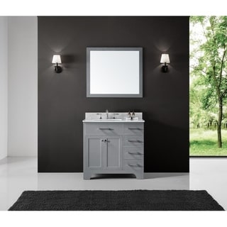 "Exclusive Heritage 36"" Single Sink Bathroom Vanity in Taupe Grey with Carrara White Marble Top"