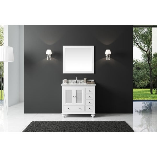 """Exclusive Heritage 36"""" Single Sink Bathroom Vanity in White with Carrara White Marble Top"""
