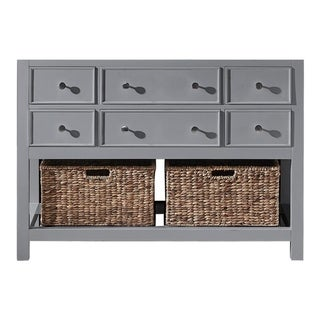 "Exclusive Heritage 48"" Single Sink Bathroom Vanity Base in Taupe Grey with Seagrass Baskets"