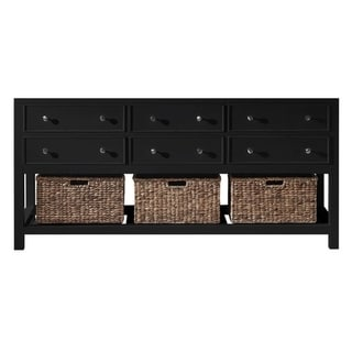 "Exclusive Heritage 72"" Double Sink Bathroom Vanity Base in Espresso with Seagrass Baskets"