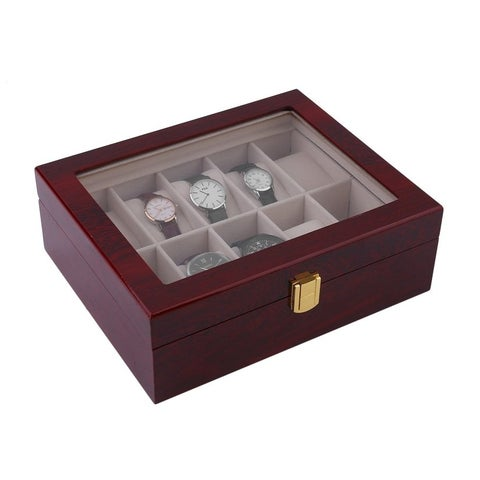 10 Grids Wood Watch Display Case Jewelry Storage Holder Box Organizer Gift
