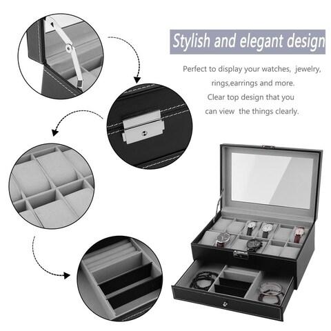 12 Grid PU Leather Watch Display Case Jewelry Storage Holder Box Organizer