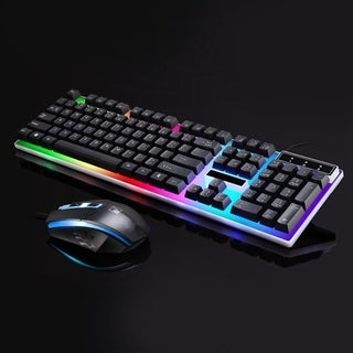 G21 LED Rainbow Color Backlight Gaming USB Wired Keyboard Mouse Set