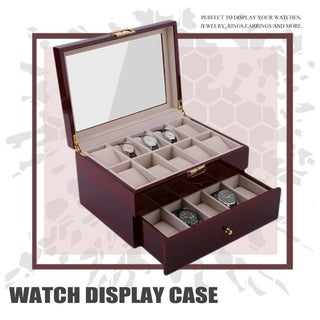 20 Grids Wood Watch Display Case Jewelry Storage Holder Gift Box Organizer