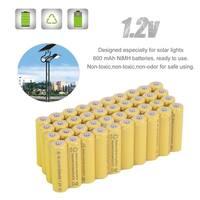 40pcs/lot AA Rechargeable Batteries Ni-Cd 600mAh 1.2V For Solar Ni-Cd Light - Yellow