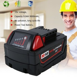 18V 9.0Ah Li-Ion Battery Replacement Power Tool Battery For Milwaukee M18 - Black