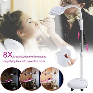 8X Magnifier Glass Len Facial Light LED Magnifying Floor Salon Stand Lamp