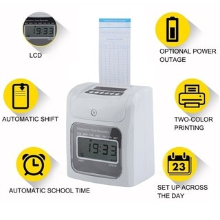 LCD Automatic Paper Card Employee Attendance Punch Time Payroll Recorder - White