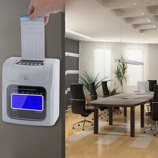 LCD Employee Attendance Clock Checking Machine Electronic Time Recorder - White & Black