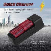 20Pcs 2300mAH Li-ion 16340 CR123A Rechargeable Battery Cell & Smart Charger - Red