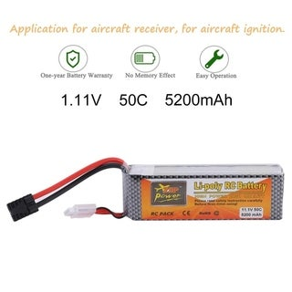 11.1V 5200mAH Lipo Battery 3S 50C Replacement Battery For Aircraft Receiver - Silver