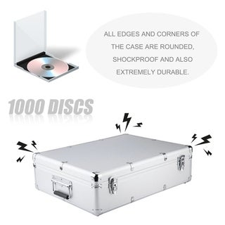 CD Storage Case Aluminum Media Carry Box 1000 Disc CD Organizer With Sleeves