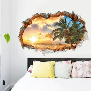 Beach Sunset Wall Sticker Coconut Trees Seascape Window View Removable Waterproof