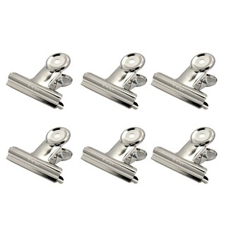 DELI 9523-51mm 6pcs/pack Silver Stainless Steel Grip Clips Bulldog Clips