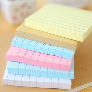 80 Sheets Solid Color Memo Pad Stickers Self-adhesive Message Notice Notepad