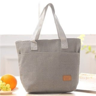 Large Capacity Insulated Hand Bag Durable Canvas Thermal Lunch Bag for Women