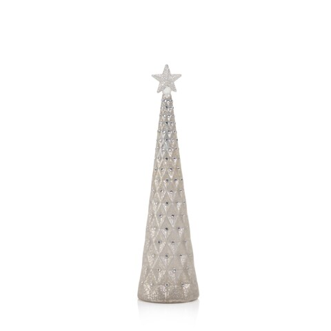 "12.75"" Tall Beaded Glass Christmas Tree with Star Topper, Tabletop Decoration, Silver (Set of 2) - N/A"