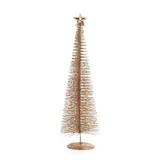 "20"" Tall ""Treasure Mountain"" Christmas Tree Tabletop Decoration, Gold (Set of 3)"