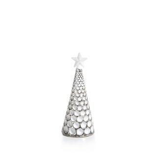 """7"""" Tall Glass Dimple LED Christmas Tree, Medium Tabletop Decoration, Silver and White (Set of 3) - N/A"""
