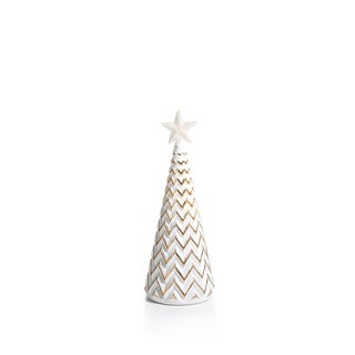 "7"" Tall Glass Zig Zag LED Christmas Tree, Medium Tabletop Decoration, Gold and White (Set of 3) - N/A"