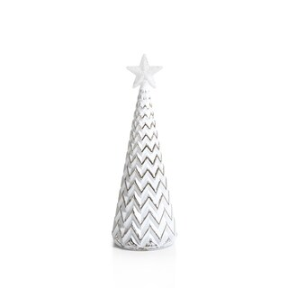 """9.5"""" Tall Glass Zig Zag LED Christmas Tree, Large Tabletop Decoration, Silver and White (Set of 2) - N/A"""